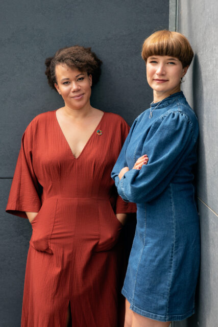 Portrays Inclusio's founders: Louise Marie and Nikoline on a dark slate grey background.